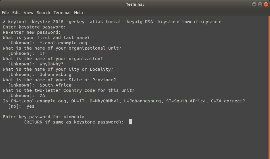 Generating a keystore using keytool for storing SSL certificates and key