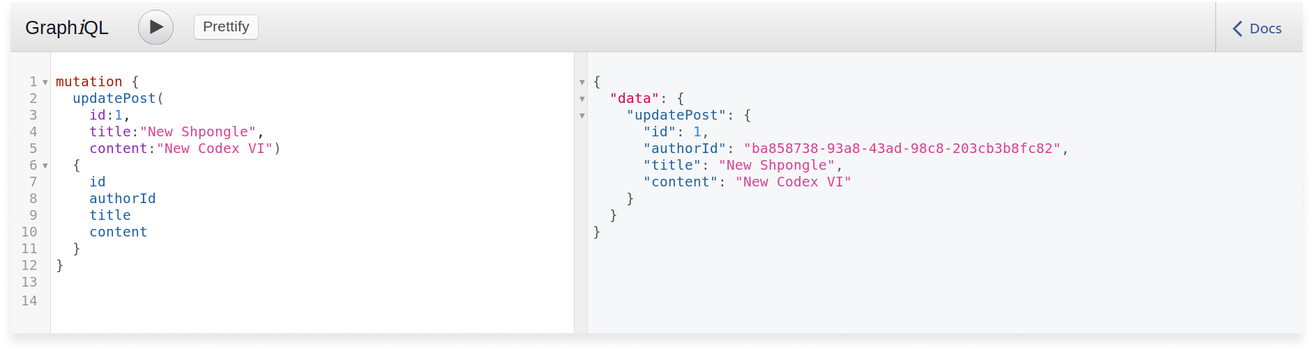 Authorized GraphQL query to update a post in a Scala GraphQL application. The post is updated because access token was provided.